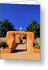gate of church in Ranchos Greeting Card