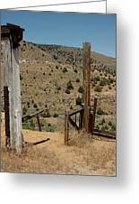 Gate Out Of Virginia City Nv Cemetery Greeting Card