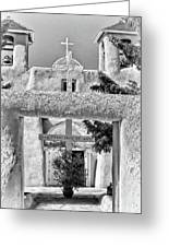 Gate To Ranchos Church Black And White Greeting Card