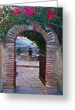 Gate To The Sacred Garden And Bell Wall Mission San Juan Capistrano California Greeting Card