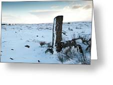 Gatepost In The Snow Greeting Card