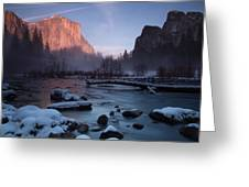 Gates Of The Valley In Winter Greeting Card
