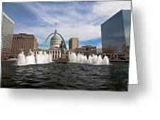 Gateway Arch And Old Courthouse In St. Louis Greeting Card