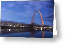 Gateway Arch At Dawn Panoramic Greeting Card