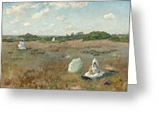 Gathering Autumn Flowers By William Merritt Chase Greeting Card
