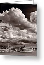 Gathering Clouds Over Lake Geneva Bw Greeting Card