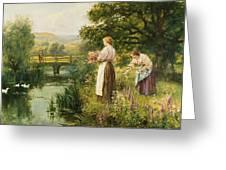 Gathering Spring Flowers Greeting Card