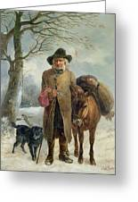 Gathering Winter Fuel  Greeting Card by John Barker