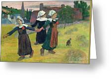 Gauguin: Breton Girls, 1888 Greeting Card