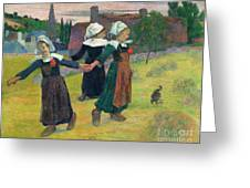 Gauguin, Breton Girls, 1888 Greeting Card