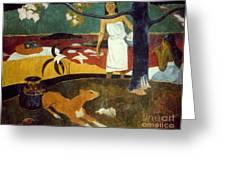 Gauguin: Pastoral, 19th C Greeting Card