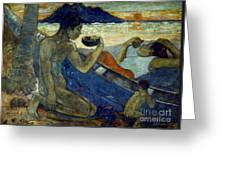 Gauguin: Pirogue, 19th C Greeting Card