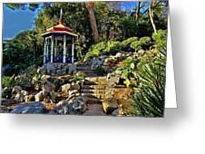 Gazebo And Garden  On A Hillside  Greeting Card