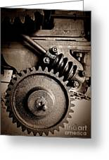 Gear In Sepia Greeting Card
