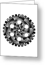 Gearwheel In Black And White Greeting Card