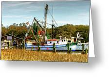Geechie Seafood Shrimp Boats Greeting Card