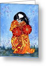 Geisha Chin Greeting Card by Kathleen Sepulveda