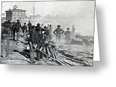 Gen Shermans Troops Destroying Railroad Before The Evacuation Of Atlanta - C 1864 Greeting Card