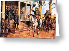 General Lee And His Horse 'traveller' Surrenders To General Grant By Mcconnell Greeting Card
