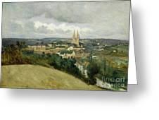 General View Of The Town Of Saint Lo Greeting Card by Jean Corot