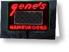 Gene's Hamburgers  Greeting Card