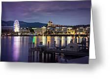 Geneva By Night  Greeting Card