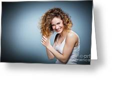 Geniue Portrait Of A Young Positive, Smiling Girl. Greeting Card
