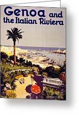 Genoa And The Italian Rivera Vintage Poster Restored Greeting Card