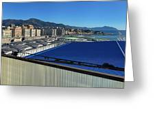 Genova Town Landscape From Abandoned Office Building Roof Greeting Card