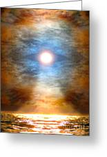 Gentle Mantra Om Light Glowing Into The Sea Greeting Card