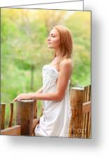 Gentle Woman On Terrace Greeting Card