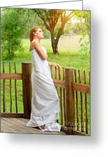 Gentle Woman Standing On The Porch  Greeting Card