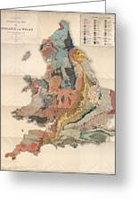Geological Map Of England And Wales - Historical Relief Map - Antique Map - Historical Atlas Greeting Card