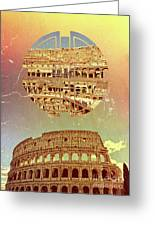 Geometric Colosseum Rome Italy Historical Monument Greeting Card