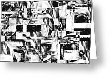 Geometric Confusion - Black And White Greeting Card
