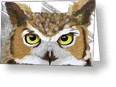 Geometric Great Horned Owl Greeting Card