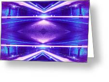 Geometric Street Night Light Pink Purple Neon Edition  Greeting Card