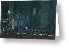 George Luks   Blue Devils On Fifth Avenue   1918 Greeting Card