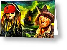 George Washington And Abraham Lincoln The Pirates Greeting Card