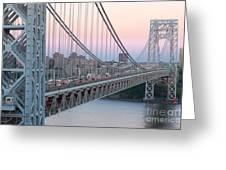 George Washington Bridge And Lighthouse I Greeting Card