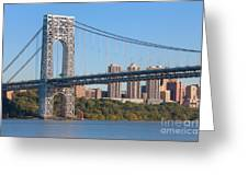 George Washington Bridge And Lighthouse II Greeting Card