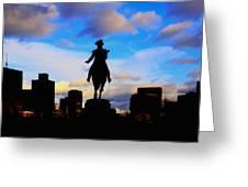 George Washington Statue Sunset - Boston Greeting Card