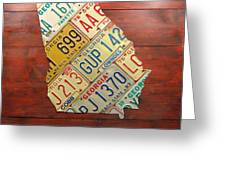 Georgia License Plate Map Greeting Card