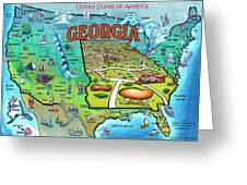 Georgia Usa Cartoon Map Greeting Card