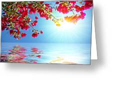 Geranium Lake Greeting Card by Carlos Caetano
