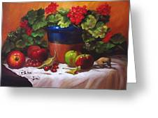 Geraniums And Apples Greeting Card