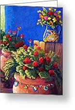 Geraniums And Talavera Greeting Card