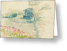 Geraniums By The Lake Greeting Card