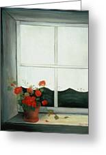 Geraniums In Window Greeting Card by Glenda Barrett