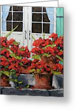 Geraniums On The Porch Greeting Card